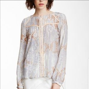 Aryn. K Long Sleeve Silk Blouse Pastel Python